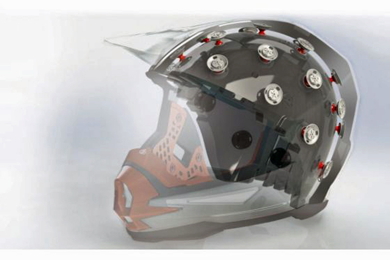 Einzigartig: Der Helmaufbau.
